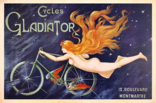 Posters: Historical Advertisement Poster Art Print - Cycles Gladiator, Red Haired Nymph And Winged Bicycle, 1895 (71 x 48 (Bicycle Advertisement Poster)