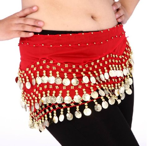 Dance Costumes Hip Scarf Coin (Buy Home Chiffon Dangling Gold Coins Belly Dance Hip Skirt Scarf Wrap Belt (Red))