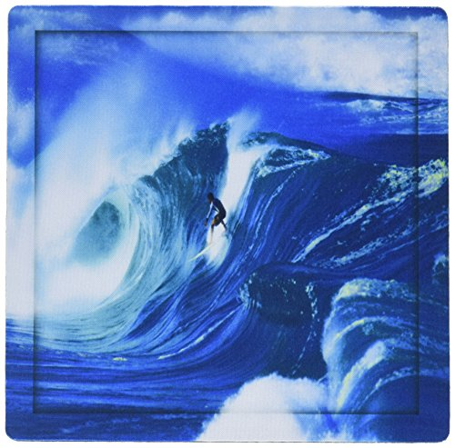 Surfer Photograph - 3dRose LLC 8 x 8 x 0.25 Inches Giant Surfing Wave and Surfer In Brilliant Blues and White Foam Highlights on The Ocean Water Mouse Pad (mp_128816_1)