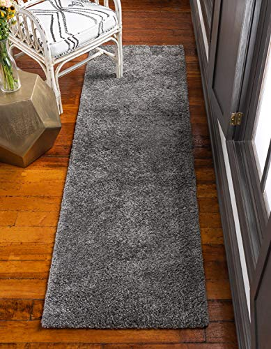 (Unique Loom Solo Collection Plush Casual Gray Runner Rug (2' x 7'))
