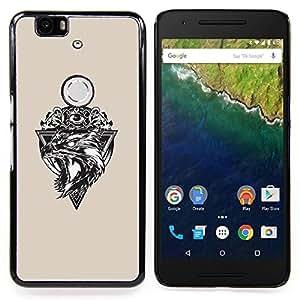 "Qstar Arte & diseño plástico duro Fundas Cover Cubre Hard Case Cover para Huawei Google Nexus 6P (Lobo Triángulo"")"