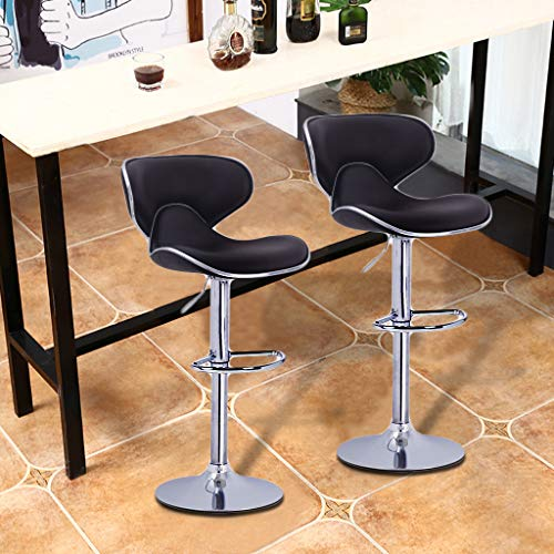 - Eoeth Set of 2 Leather Adjustable Bar Stools Counter Height Swivel Stool Computer Chair Bar Chair Lift Chair Home High Bar Back Chair Front Desk High Chair (Shipped by US) Free Post