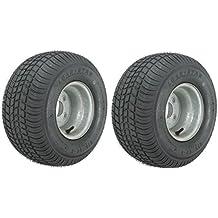 2-Pack Trailer Tires On Galvanized Rims 18.5x8.5-8 18.5 x 8.5-8 Load C 4 Lug