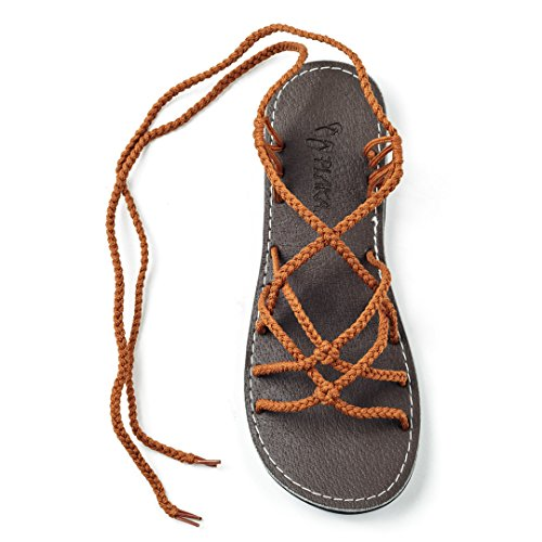 Plaka Flat Gladiator Sandals for Women Orange 11 Sahara