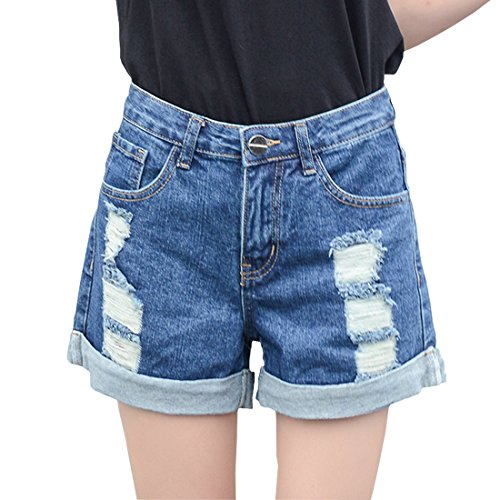 Weigou Woman Denim Shorts High Waist Loose Hole Curling Short Jeans Ripped Distressed Denim Shorts (Dark Blue, M)