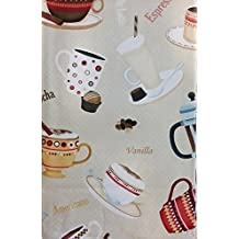 "Coffee House Ensamble on Beige Vinyl Flannel Back Tablecloth (52"" x 90"" Oblong)"