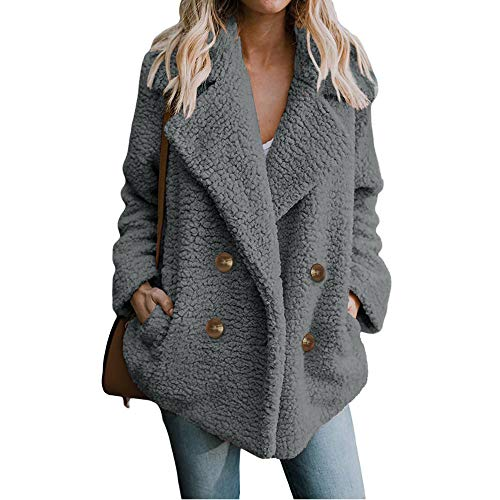 Dressin Women's Open Front Fuzzy Cardigan Warm Fleece Jacket Coat Long Sleeve Oversized Coat Outwear with Pockets
