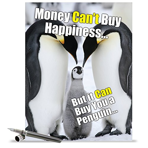 J1469 Jumbo Funny Birthday Card: Buy A Penguin With Envelope (Extra Large Version: 8.5'' x 11'')