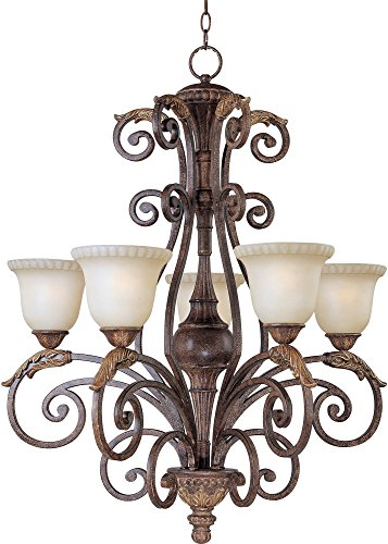 Maxim Lighting 24105CFGF Beaumont 5-Light 36-1/2-Inch Chandelier, Golden Fawn Finish with Cafe Glass - Beaumont Ceiling Chandelier