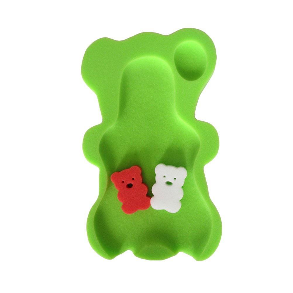 YeahiBaby Baby Bath Sponge Mat Non-slip Sponge Cushion with 2 Bear Shape Bath Sponge(green)