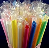 Extra Large NEON Straws 1/2 Inch Wide 8 1/2 Inch Long Great For bubble tea, smoothies, milkshakes, and frozen drinks.& more Pack Of 50