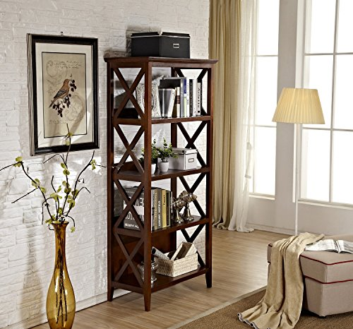 Mixcept Solid Wood Multi-function Shelf ,Bookcase,Bookshelves with 4 (Glass Walnut Bookcase)