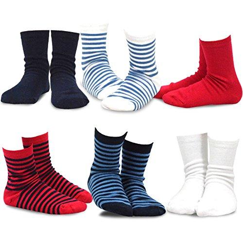 TeeHee Kids Boys Basic Cotton Crew Socks 6 Pair Pack (3-5Y, Bright Stripe)