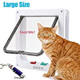 RESTER [Upgraded Version] Anti-Cracking 4 Ways Locking Magnetic Smart Cat Door,Cat Flap Door for Interior and Exterior Use White (Large)
