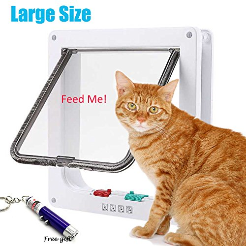 RESTER [Upgraded Version Anti-Cracking 4 Ways Locking Magnetic Smart Cat Door,Cat Flap Door Interior Exterior Use White (Large)