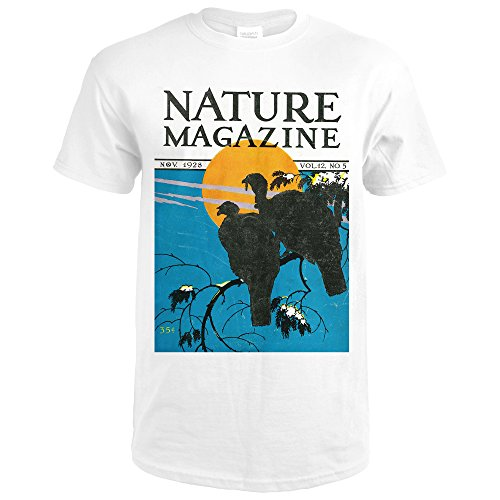 Nature Magazine - View Of Wild Turkeys Perching On a Branch In The Moonlight (Premium White T-Shirt XX-Large) (In Moonlight The Turkeys)