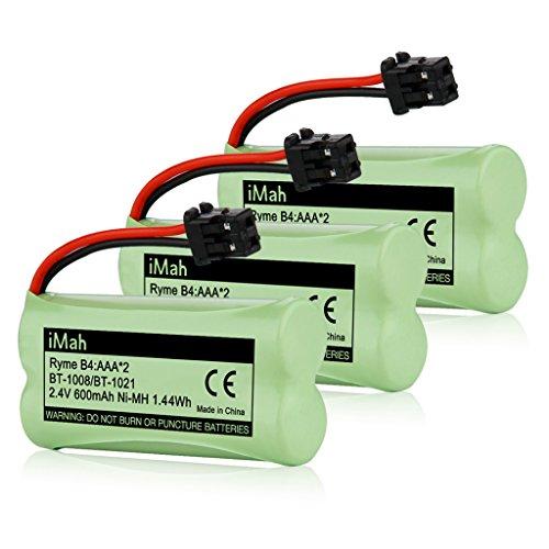 3-Pack iMah Ryme B4 Rechargeable Cordless Phone Battery for BT-1021 BT-1025 BT-1016 BT-1008 BBTG0798001 BBTG0734001 Uniden DECT2080-3 DECT2882 D1361 D1780 DCX170 DECT 6.0 Home Handset Telephone