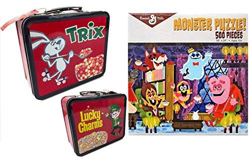 Cereal Jigsaw Puzzle Breakfast Monsters Retro Crunch Fun Bundled with Lucky Charms 2 Sided Tin Trix Rabbit / Frute Brute / Boo-Berry / Count Chocula / Yummy Mummy & Frankenberry -