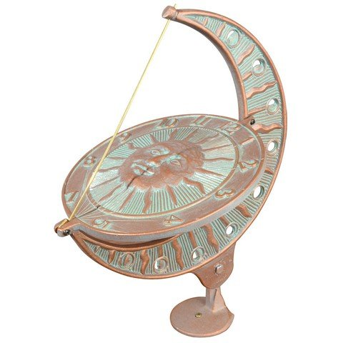Whitehall Products Sun and Moon Sundial, Copper Verdi