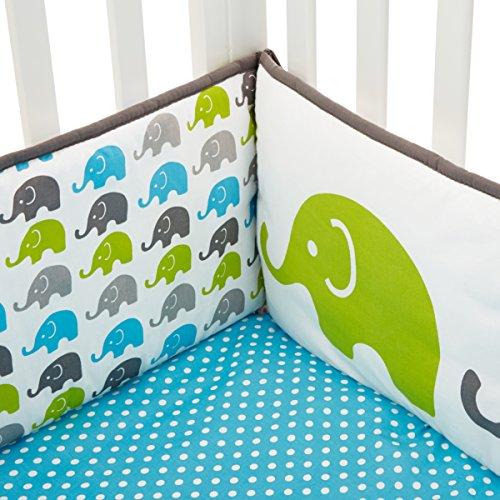 Elephants Musical Mobile with Hanging Toys Bacati Aqua//Lime//Grey