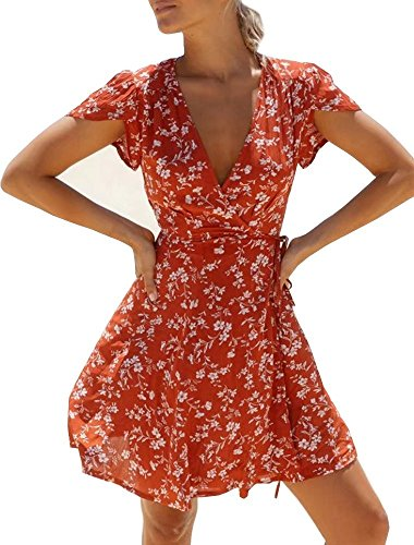 (Women's Summer Fashion Floral Printed Casual Pullover V Neck Short Sleeve Wrap A Line Mini Dress)