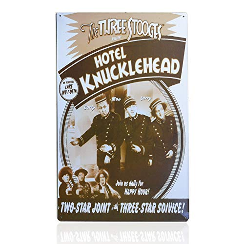 - 1st warehouse Retro Vintage Tin Sign, Hotel Knucklehead - The Three Stooges, Pin Up Metal Poster, 10