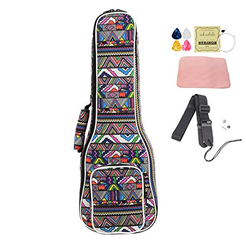 HOT SEAL Cute Printing 10MM Thick Durable Ukulele Case Bag Cover with Large Storage Uke Backpack Free Straps (21 in, Color stripes) - Printing Durable