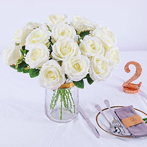 Silk Roses Wedding Flowers - PARTY JOY Vintage Artificial Silk Rose Flower Bouquet Wedding Party Home Decor,Park of 10 (Milk White)