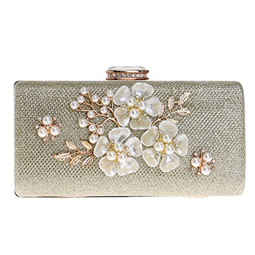 Hard Clutch Beaded Evening Flada Pearl Handbag Women's Gold Purse Evening Flower Elegant 8a7xggZqw