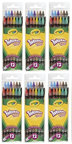 Crayola Twistables Colored Pencils, No Sharpening Needed, 12 Count (Pack of 6) Total 72 -