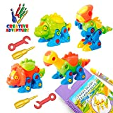 Creative Adventure 4 Pack TakeApart Dinosaur Toy Set with Tools|Kids Take Apart &Assemble|STEM Gift...