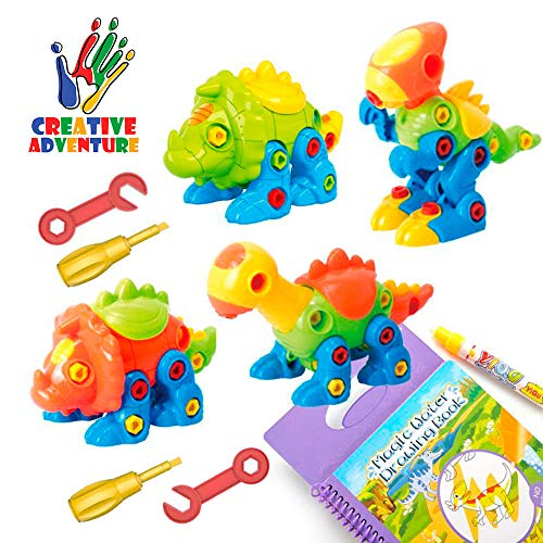 Creative Adventure 4 Pack TakeApart Dinosaur Toy Set with Tools|Kids Take Apart &Assemble|STEM Gift Toy Promote Learning for Boys Girls Gift Age 3,4,5,6,7,8|Re-usable Water Dinasors Coloring Book