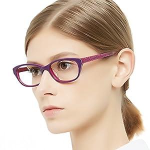 OCCI CHIARI Women Fashion Rectangle Acetate Eyewear Frames Non-prescription Eyeglasses With Clear Lenses(Purple,54-16-140)