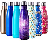 HGDGears Stainless Steel Water Bottle 17oz/500ml,Double Wall Vacuum Insulated Travel Bottle Leak Proof Sports Drinks Bottle with Brush(Gold)