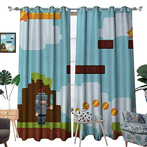 RenteriaDecor Video Games Waterproof Window Curtain Arcade World Kids 90s Fun Theme Knight with Fireball Bonus Stars Coins Image Blackout Draperies for Bedroom W108 x L84 Multicolor
