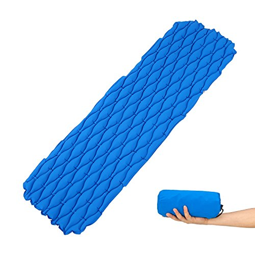 FAMLOVE Ultralight Sleeping Mat-Backpacking Camping Mat,Durable,Tear Resistant,Supportive and Comfy Sleeping Pad, Lightweight,Ultra-Compact for Lounging,Sleeping Bags,Hammocks, Scouts,Travel ()