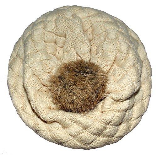 BOWKITE Cute Baby Toddler Boys Girls Beret Hat Rib Winter Knitted Pom Pom Beanie Cap Beige