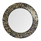 Cheap DecorShore 20″ Jewel Tone Accent Mirror, Round Decorative Wall Mirror w/Embossed Glass Mosaic Tile Frame (Fired Gold)