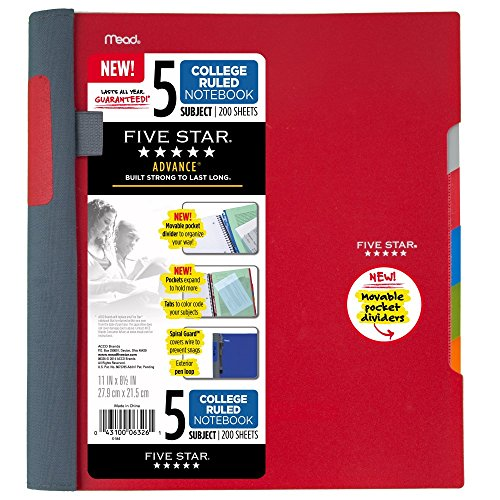 "Five Star Advance Spiral Notebook, 5 Subject, College Ruled Paper, 200 Sheets, 11"" x 8-1/2"", Red (73146)"