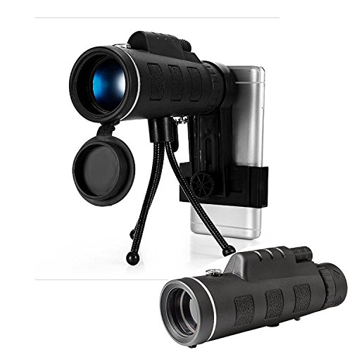 40X60 Monocular Telescope HD Night Vision Prism Scope With Compass Phone Clip Tripod,HD Wide View BAK4 Prism FMC Scope for Outdoor - View Clip