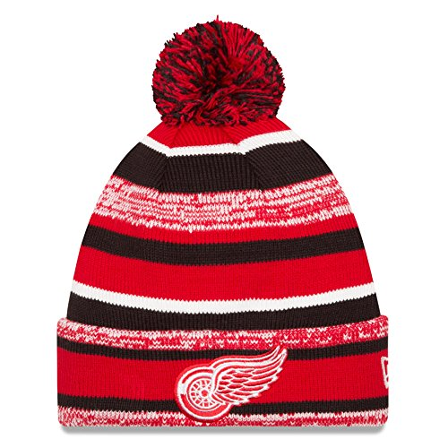 NHL New Era Sport Cuffed Knit Hat with Pom (OSFM, Detroit Red Wings) (Sport Cuffed Knit)