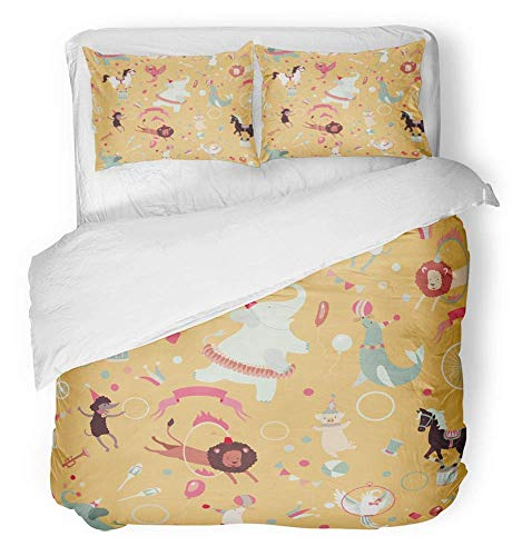 - 3 Piece Duvet Cover Set Breathable Brushed Microfiber Fabric Animal Retro Circus Pattern Cute Horse Vintage Poodle Seal Bicycle Ball Bedding Set with 2 Pillow Covers Full/Queen Size