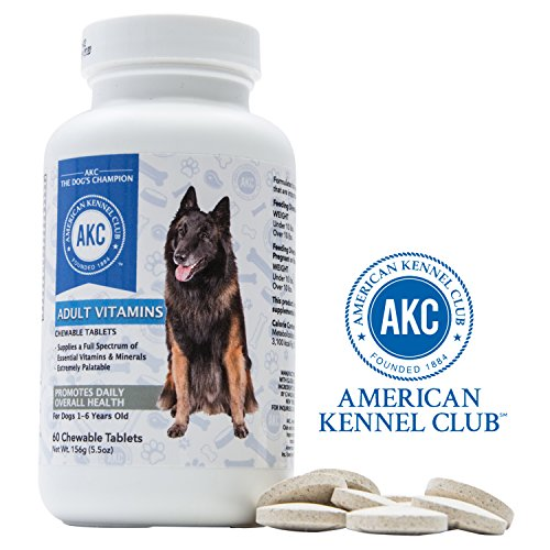 AKC Chewable Dog Vitamins with B12, Brewer's Yeast, Biotin, Calcium and More for Complete Nutritional Support