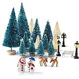 KUUQA Mini Assorted Pine Trees Bottle Brush Trees with Snowmen, Reindeer, Mini Garden Wooden Bench, Street Lamps Miniature Ornaments for Miniature Fairy Garden Village Decoration Ornaments (Set of 31)