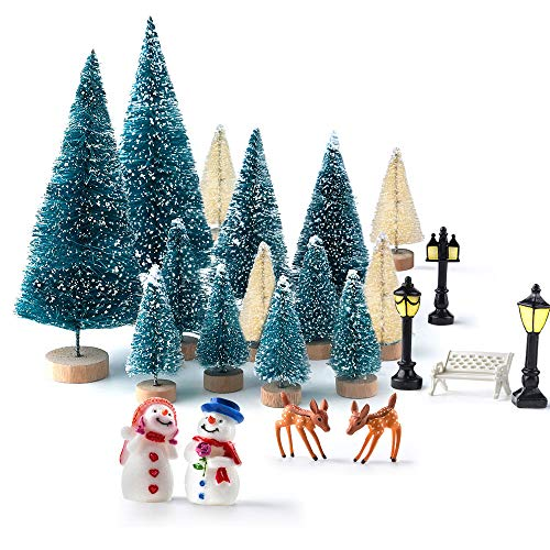 Kuuqa Mini Assorted Pine Trees Bottle Brush Trees with Snowmen, Reindeer, Mini Garden Wooden Bench, Street Lamps Miniature Ornaments for Miniature Fairy Garden Village Decoration Ornaments (Set of 31) ()