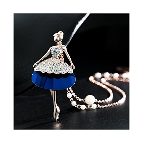 The Starry Night Seven Color Ballet Girl Gold Plated Rainbow Diamond Accented Princess Necklace for Women (Spirit Halloween Zombie Baby Names)