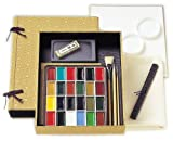Nihonga Sumi-e Watercolor Painting Full Set - 24 Colors plus Inkstick and Inkstone (Japan Import)
