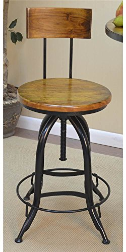 Carolina Cottage Chestnut Finish - Carolina Cottage Adjustable Stool with Back