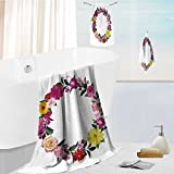 Printsonne Premium quality 100% Cotton Super Soft frame made from summer pink flowers and green leaves isolated on white background natural photo Uber Absorbent and Fluffy 3 Piece Towel Set