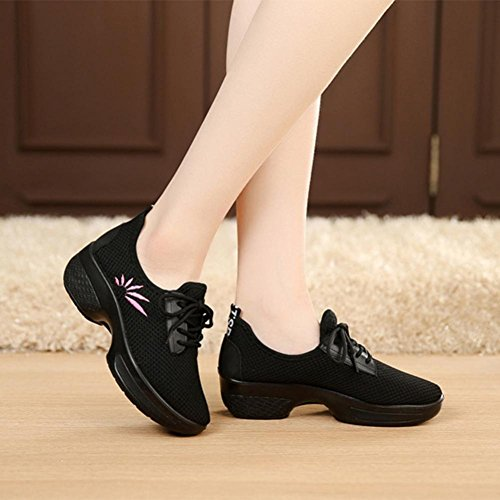 Broderie Tennis Noir Femme Beautyjourney Cher Casual Marche Polo Sport Coins Maille Croissant Pas Chaussures Flats Chaussures Femmes Femme pqwn65Txw
